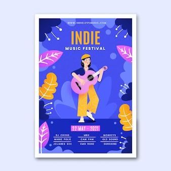 Plantilla de póster de evento musical ilustrado indie