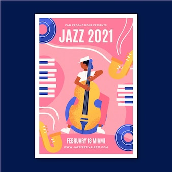 Plantilla de póster de evento musical ilustrado de jazz