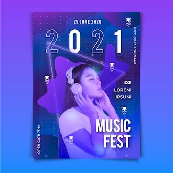 Plantilla de póster de evento musical con imagen