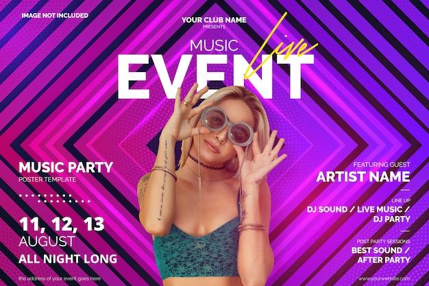 Plantilla de póster de evento musical vibrante con formas abstractas