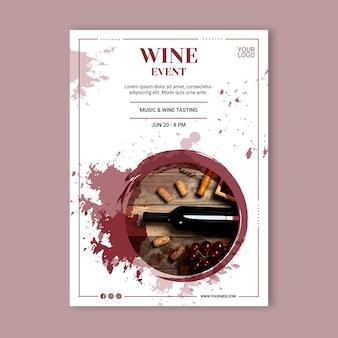 Plantilla de póster de evento de vino