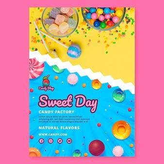 Plantilla de póster de fábrica de dulces