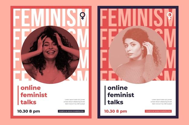 Plantilla de póster de feminismo con foto