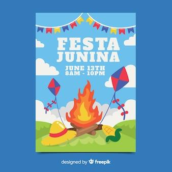 Plantilla de poster de festa junina dibujado a mano