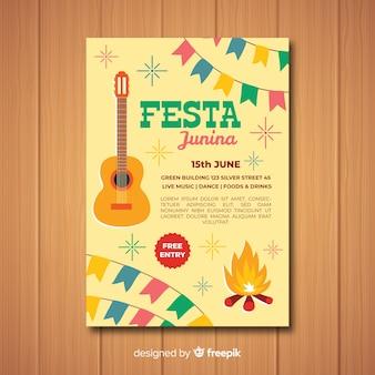 Plantilla de poster de festa junina en diseño plano