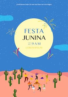 Plantilla de póster de festa junina con gente bailando en la noche