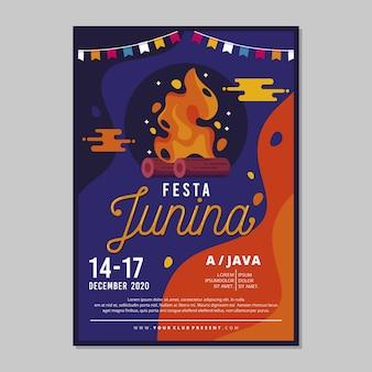 Plantilla de póster de festa junina