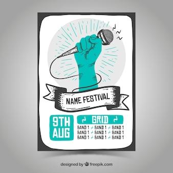 Plantilla de póster de festival con estilo de dibujo a mano