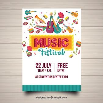 Plantilla de póster de festival con instrumentos dibujados a mano