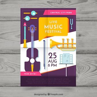 Plantilla de póster de festival con instrumentos musicales