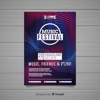 Plantilla de poster de festival de música abstracta colorida