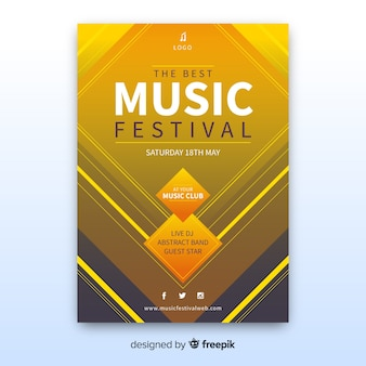 Plantilla de poster de festival de música abstracta