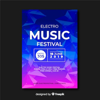 Plantilla de póster de festival de música abstracto