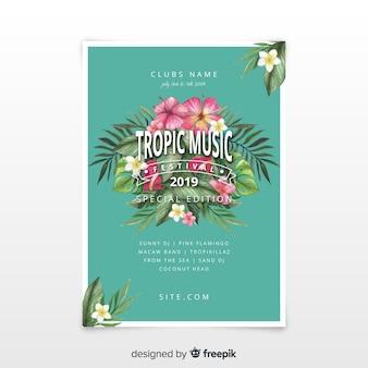 Plantilla de poster de festival de música en acuarela