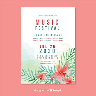 Plantilla de póster de festival de música en acuarela