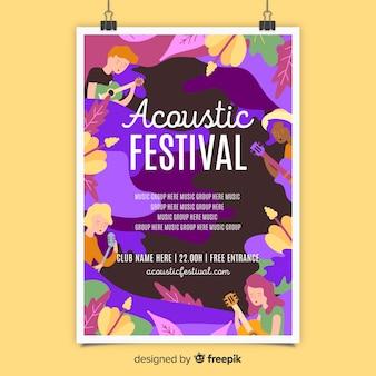 Plantilla de poster de festival de música acústica