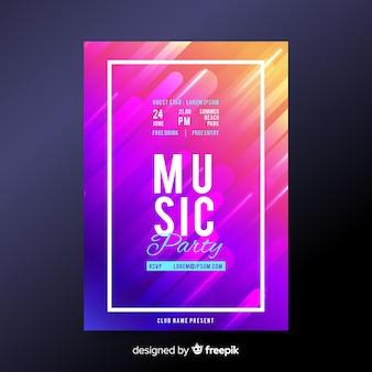 Plantilla de poster de festival de música en color degradado