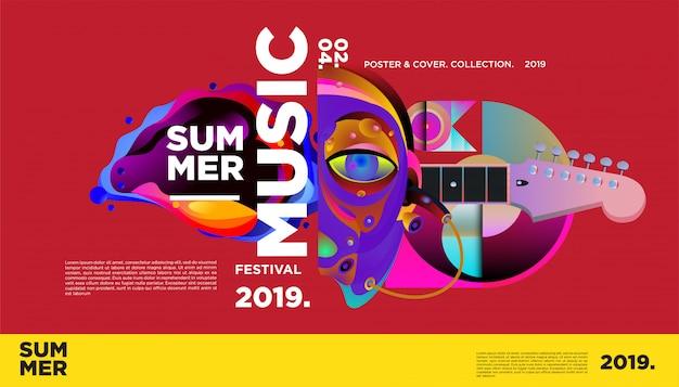 Plantilla de póster de festival de música colorida de verano