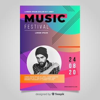 Plantilla de poster de festival de música con degradado