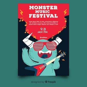 Plantilla de poster de festival de música dibujada a mano