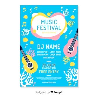 Plantilla de poster de festival de música dibujado a mano