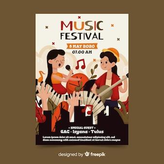 Plantilla de póster de festival de música dibujado a mano