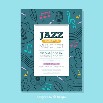 Plantilla de poster de festival de música en diseño plano