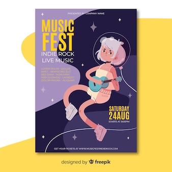 Plantilla de póster de festival de música en diseño plano