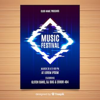 Plantilla de poster de festival de música con distorsión