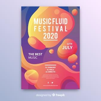Plantilla de póster de festival de música con efecto líquido