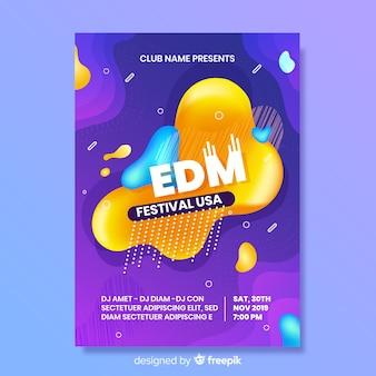 Plantilla de póster del festival de música con efecto líquido