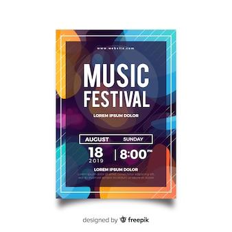 Plantilla de póster de festival de música con formas líquidas