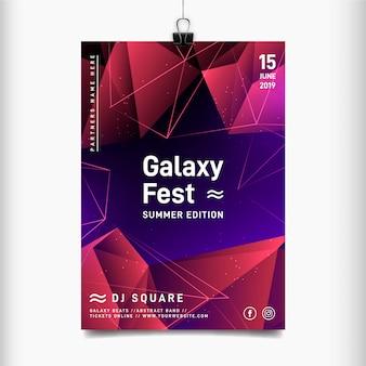 Plantilla de póster del festival de música galaxy