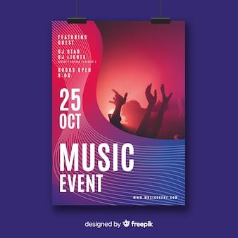 Plantilla de poster de festival de música con imagen