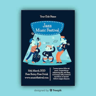 Plantilla de póster de festival de música de jazz