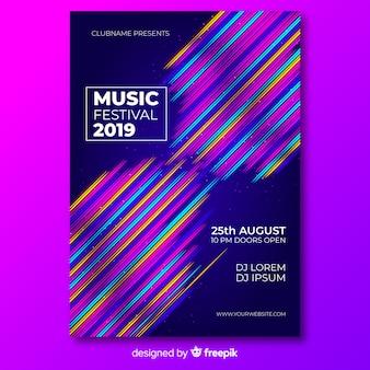 Plantilla de póster del festival de música con líneas de colores