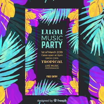 Plantilla de poster de festival de música luau