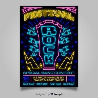 Plantilla de poster de festival de música con luces de neón