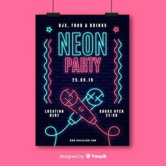Plantilla de póster de festival de música con luz neón