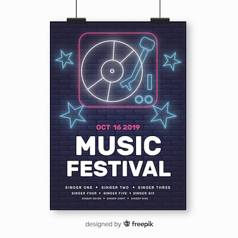 Plantilla de póster de festival de música en luz neón