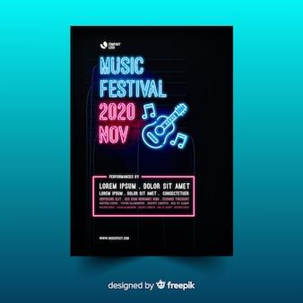 Plantilla de póster del festival de música de neón