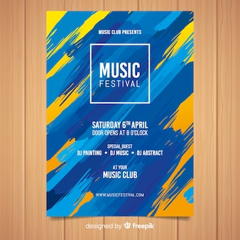 Plantilla de poster de festival de música con pintura abstracta