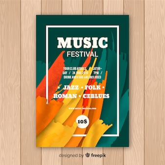 Plantilla de poster de festival de música con pintura