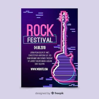 Plantilla de poster de festival de música rock