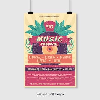 Plantilla de poster de festival de música tropical vintage