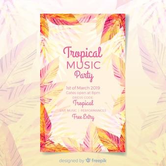 Plantilla de poster de festival de música tropical