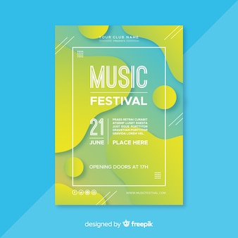 Plantilla de poster de festival de música