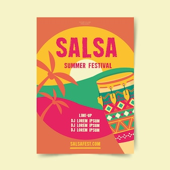 Plantilla de póster de festival de verano de salsa