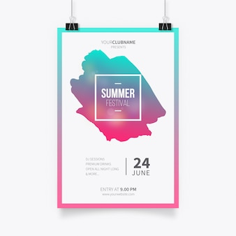 Plantilla de póster de festival de verano