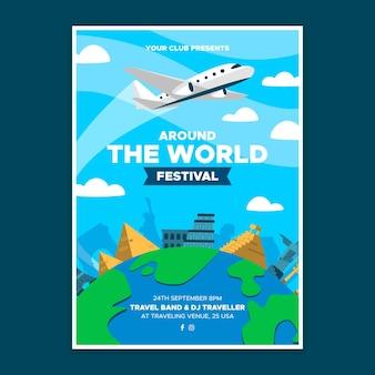Plantilla de póster del festival de la vuelta al mundo